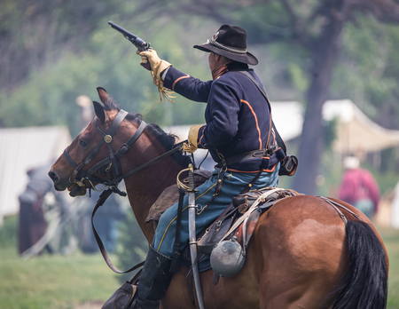 red bluff: Union scout picks targets at a Civil War Reenactment, Red Bluff, California Editorial