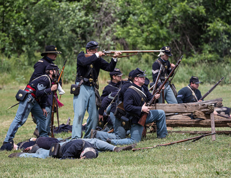 red bluff: Union soldiers fight back at a Civil War Reenactment, Red Bluff, California