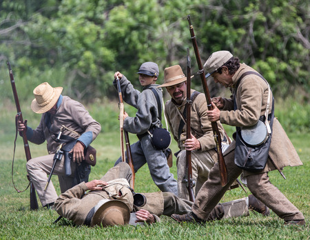 Confederates reload at a Civil War Reenactment, Red Bluff, California