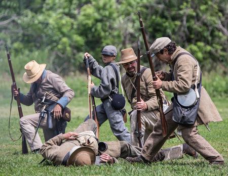 red bluff: Confederates reload at a Civil War Reenactment, Red Bluff, California