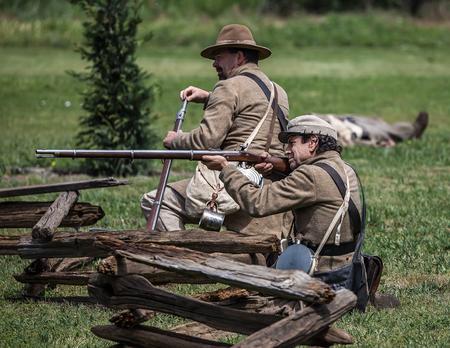 period costume: Confederates attack at a Civil War Reenactment, Red Bluff, California