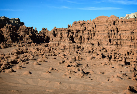 goblin: Goblin Valley State Park, Utah. Oddly shaped rock formations nicknamed goblins because of their spooky appearance .