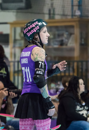 gal: Stranger Danger roller derby gal from the Shasta Roller   Derby team in Redding, California.