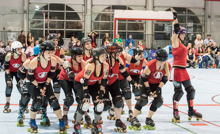 Red Bluff Derby Girls skate before a match with Shasta in Redding, California.