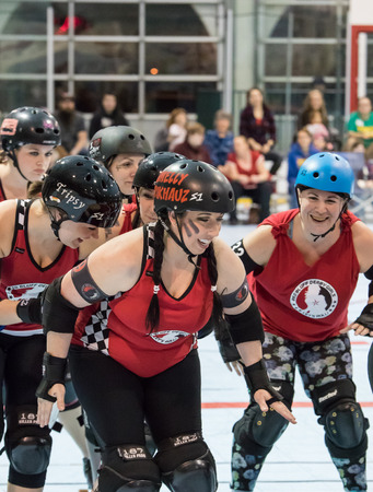 rollerskating: Red Bluff Derby Girls skate before a match with Shasta in Redding, California.