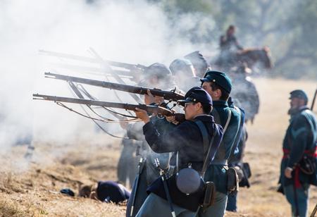 yankees: Yankees in combat at the Hawes Farm Reenactment in Anderson, California.