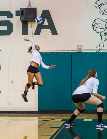 simpson: Simpson University against Shasta College in a volleyball match in Redding, California.