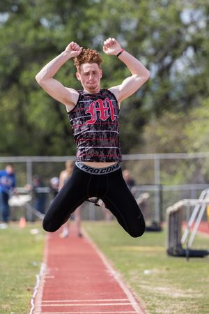 City of Shasta Lake, California. Long jumper at the Burt Williams Track and Field Classic.