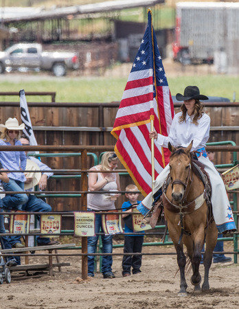 rodeo cowgirl: Rodeo cowgirl in the Cottonwood, California Rodeo.