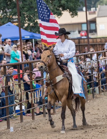 cottonwood: Rodeo cowgirl in the Cottonwood, California Rodeo.