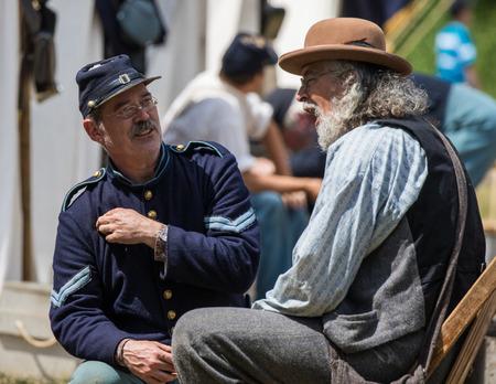 reenactor: Civil War reenactor at the Dog Island Reenactment in Red Bluff, California. Editorial