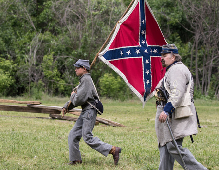 Civil War Confederate soldiers at the Dog Island reenactment in Red Bluff, California. Editorial