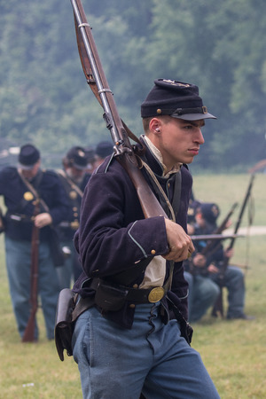 Civil War Union soldier at the Dog Island reenactment in Red Bluff, California.