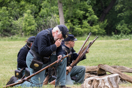 Civil War Union scout at the Dog Island reenactment in Red Bluff, California. Editorial