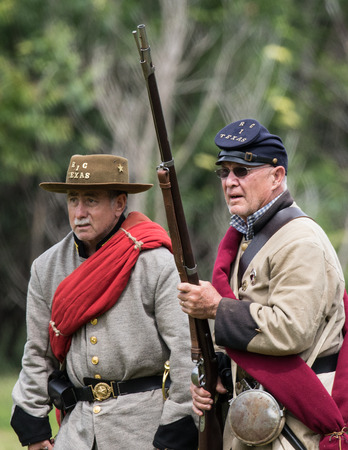 Civil War Union scout at the Dog Island reenactment in Red Bluff, California. Stock Photo - 57382785