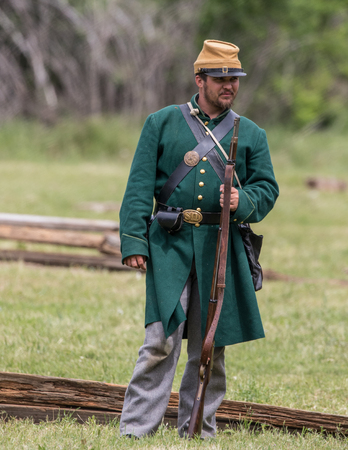 Civil War reenactors at the Dog Island Reenactment in Red Bluff. California.