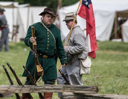 Civil War reenactors at the Dog Island Reenactment in Red Bluff. California.