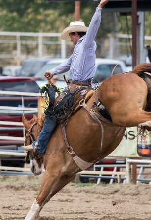 Rodeo action at the Cottonwood Rodeo on Mothers Day in northern California. Editorial