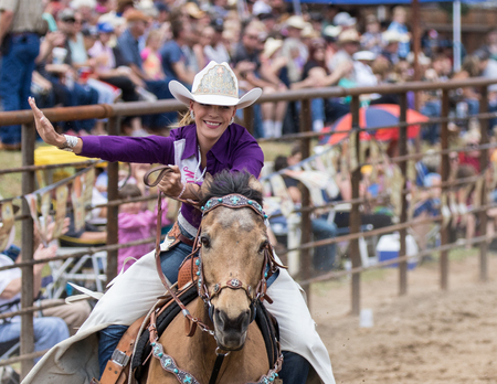 cottonwood: Rodeo action at the Cottonwood Rodeo on Mothers Day in northern California. Editorial
