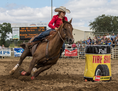 Barrel racing action at the Cottonwood Rodeo in northern California on May 8th, 2016. Editöryel