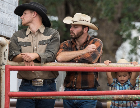 pima: Cowboys watching the Cottonwood Rodeo in Cottonwood, California. Editorial