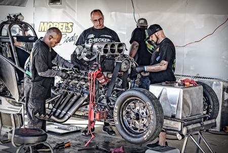 dragster: Dragster tune up time at the Redding, California drag races.
