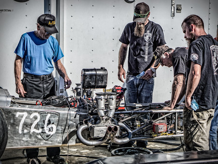 Dragster tune up time at the Redding, California drag races.