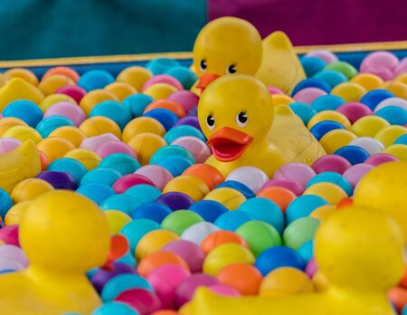 midway: Rubber ducks on the midway of a fair. Stock Photo