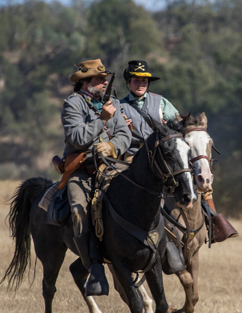 Civil War reenactment action at Hawes Farm in Anderson, California.