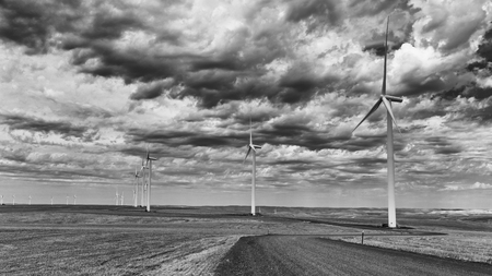 palouse: Wind power on the Palouse area of Washington State. Stock Photo