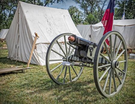 reenactment: Civil War reenactment action at Dog Island, Red Bluff, California. Editorial