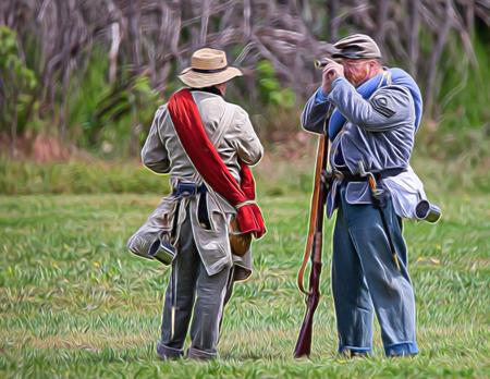 bluff: Civil War reenactment action at Dog Island, Red Bluff, California. Editorial