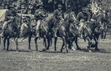 Civil War reenactment action at Dog Island, Red Bluff, California. Editorial