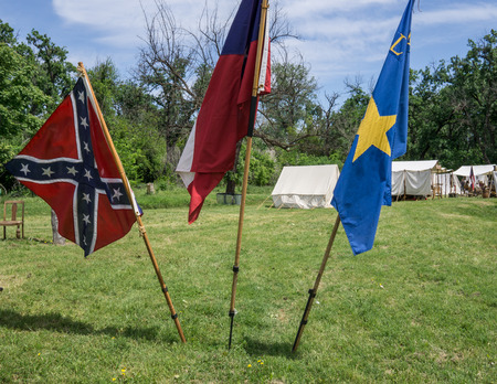 Civil War reenactment at Dog Island in Red Bluff, California. Stock Photo
