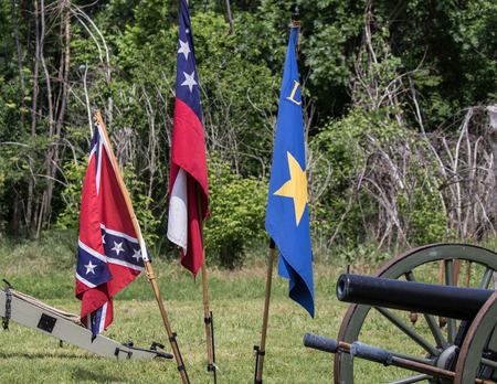 red bluff: Civil War reenactment at Dog Island in Red Bluff, California. Stock Photo