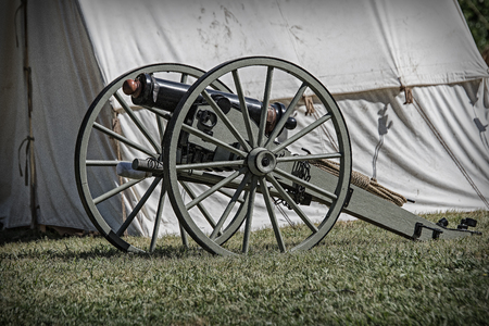 reenactment: Civil War reenactment at Dog Island in Red Bluff, California. Stock Photo
