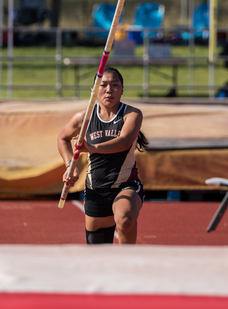 Track and field action at the northern California championships in Cottonwood, California.