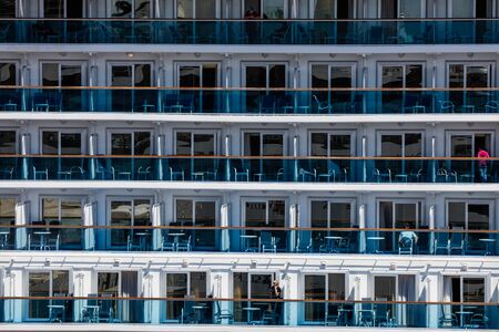 liner: Cruise ship balconies on a large ocean liner.