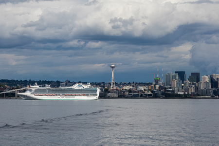 liner transportation: A busy day in Elliott Bay of Seattle, Washington.