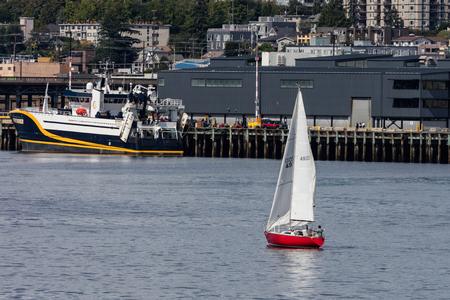 Sailing in Elliot Bay, Seattle, Washington.