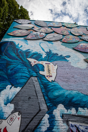 vandalize: Street art mural in Olympia, Washington.