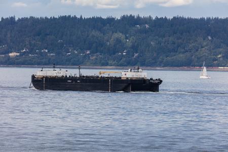 Freighter in Elliott Bay near Seattle, Washington. Editorial