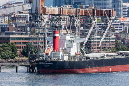 freighter: Freighter in Elliott Bay near Seattle, Washington. Editorial