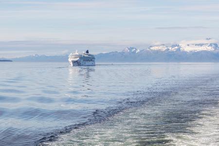 passage: Cruise ship in Alaskas Inner Passage.