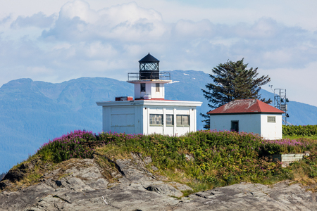 retreat: Point Retreat Lighthouse in Alaska. Stock Photo