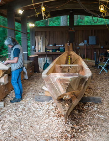 tlingit: Traditional canoe builder in Sitka, Alaska.