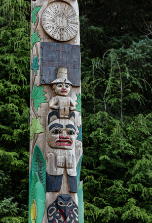 Tlingit carved totem in Sitka, Alaska.