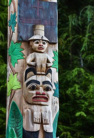 sitka: Tlingit carved totem in Sitka, Alaska.