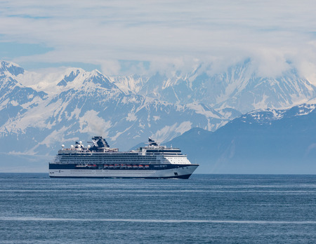 Cruise ship in Desolation Bay near Hubbard Glacier, Alaska. Editöryel