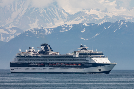 cruise travel: Cruise ship in Desolation Bay near Hubbard Glacier, Alaska. Editorial